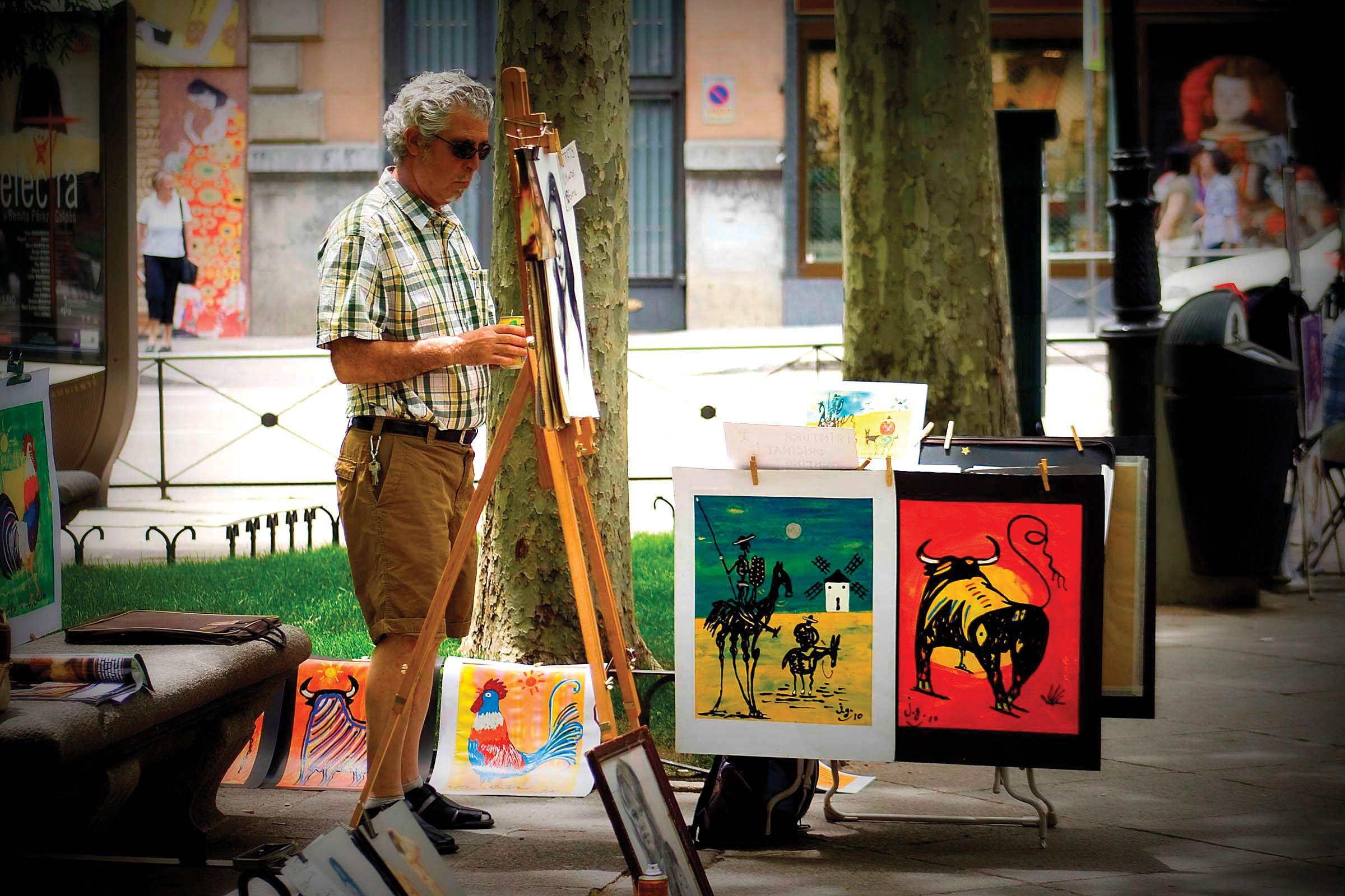 Street artist in Madrid, Spain. Photo by Louise Farmer