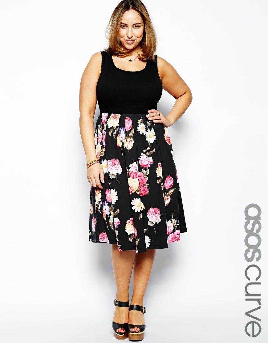 ASOS CURVE Skater Dress With Floral Skirt And Rib Top Longer Length ... 7aed8b3bbef5