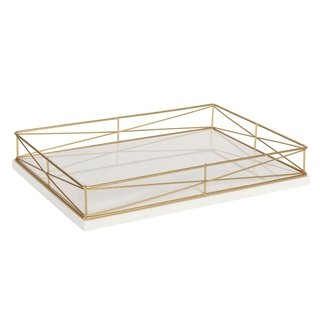 Kate And Laurel Mendel Rectangle Tray With Decorative Metal Rim
