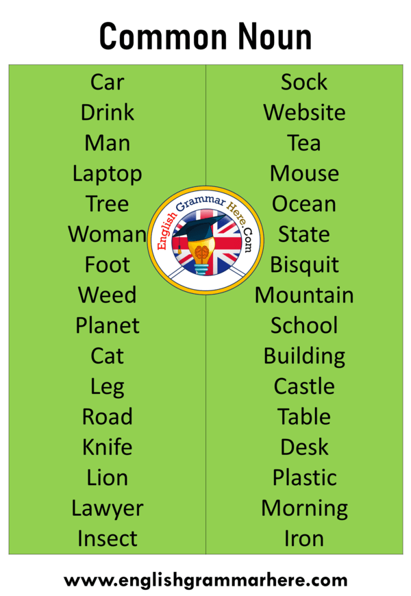 What Is Common Noun With Example Common Noun List The Words That Meet All Living Creatures Concepts And Even Verb Common Nouns English Vocabulary Words Nouns