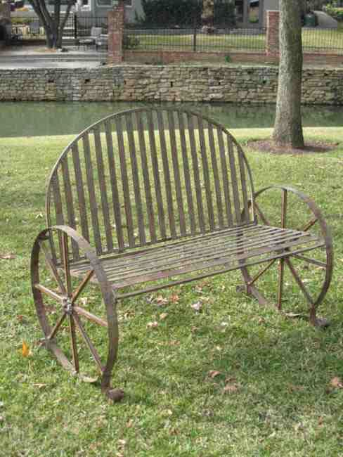 Rustic Benches With Steel Wheels : Wagon wheel chair idea whimsy pinterest