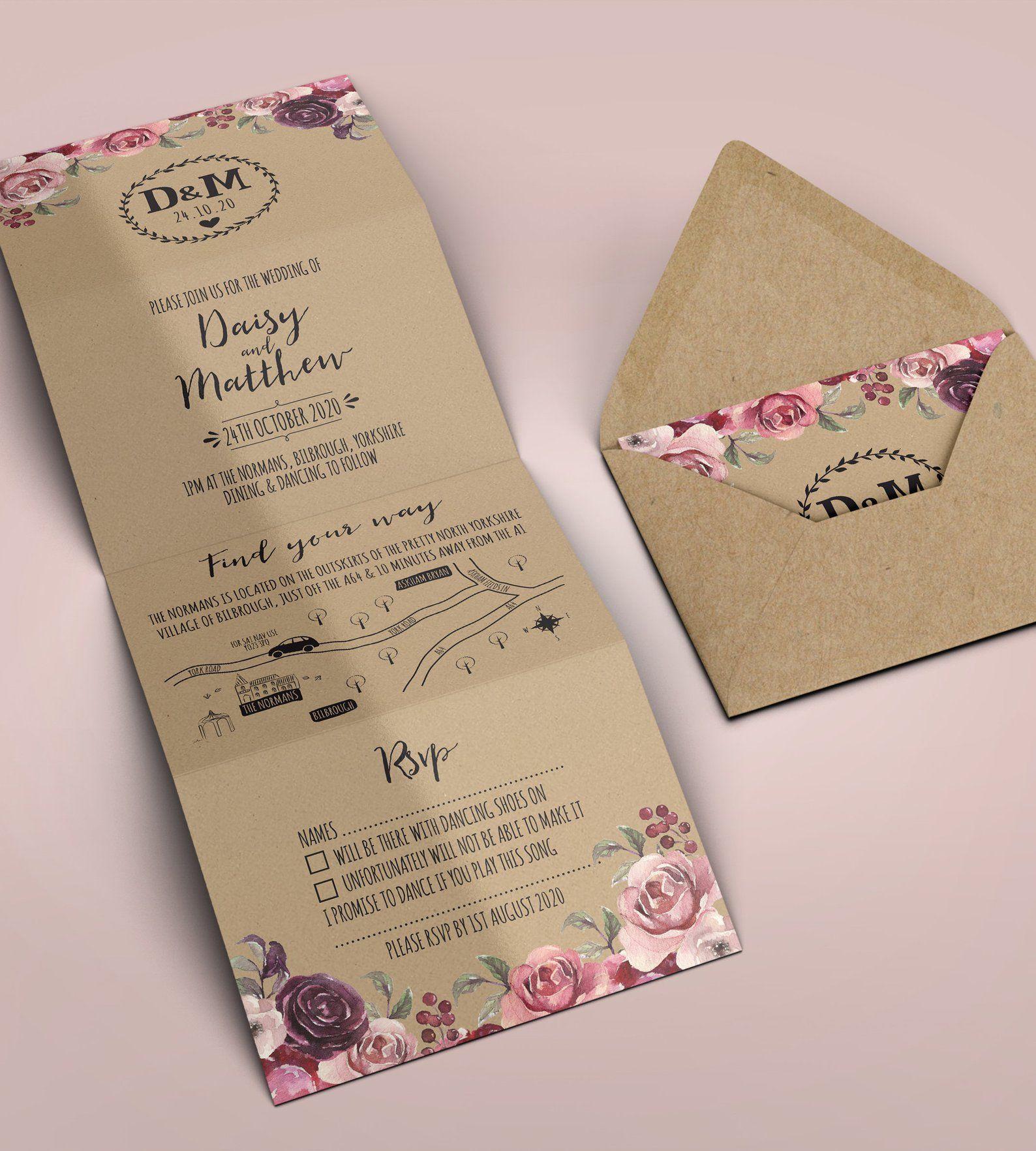 Folded Wedding Invitation, Kraft Wedding Invitation, Rustic Wedding  Invitation, Co… | Folded wedding invitation, Wedding invitations boho, Kraft  wedding invitations