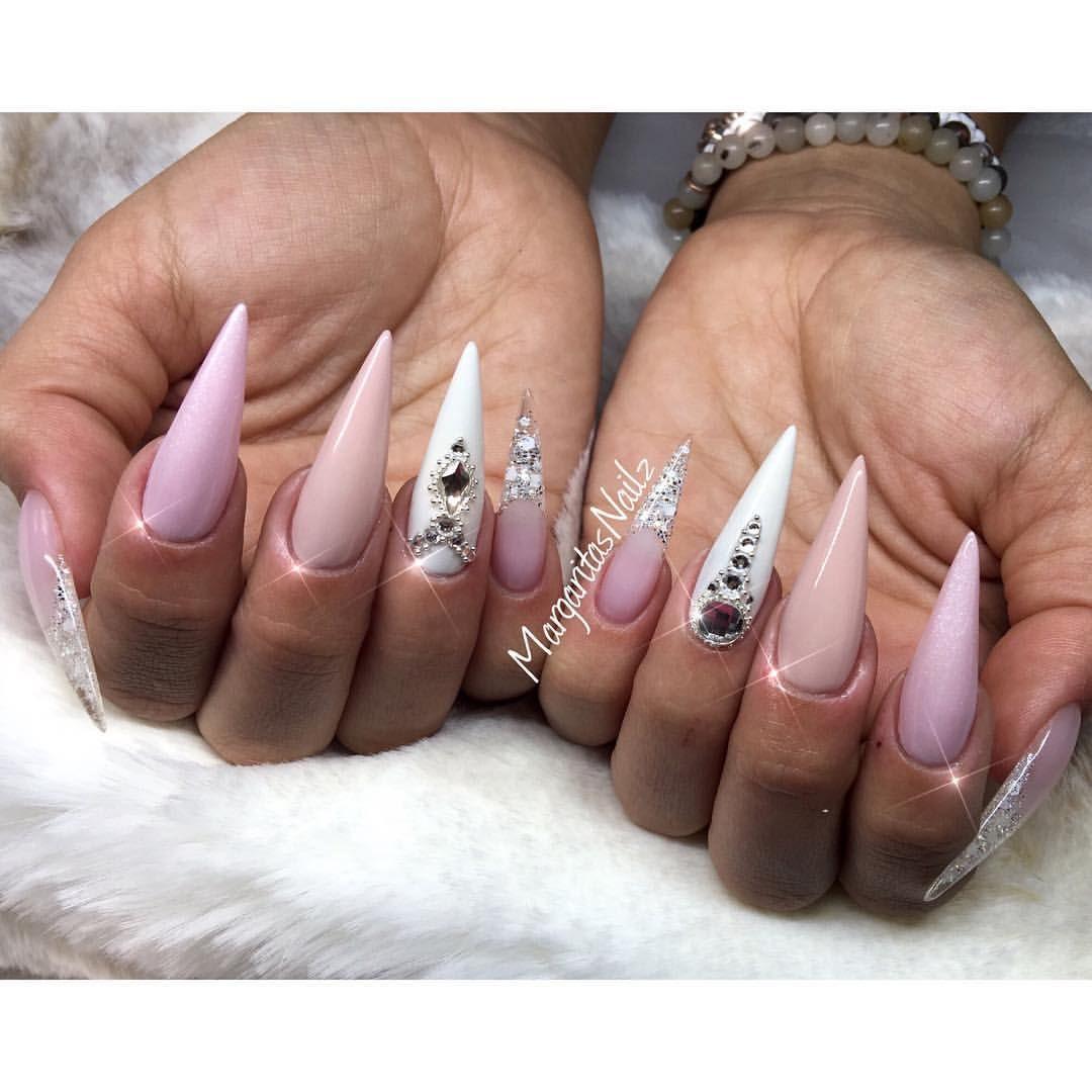 Nude pink and white stilettos by MargaritasNailz fashion nail art ...