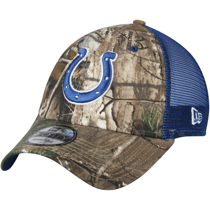 brand new c6786 48bd0 Indianapolis Colts New Era Trucker 9FORTY Adjustable Hat – Realtree  Camo Royal
