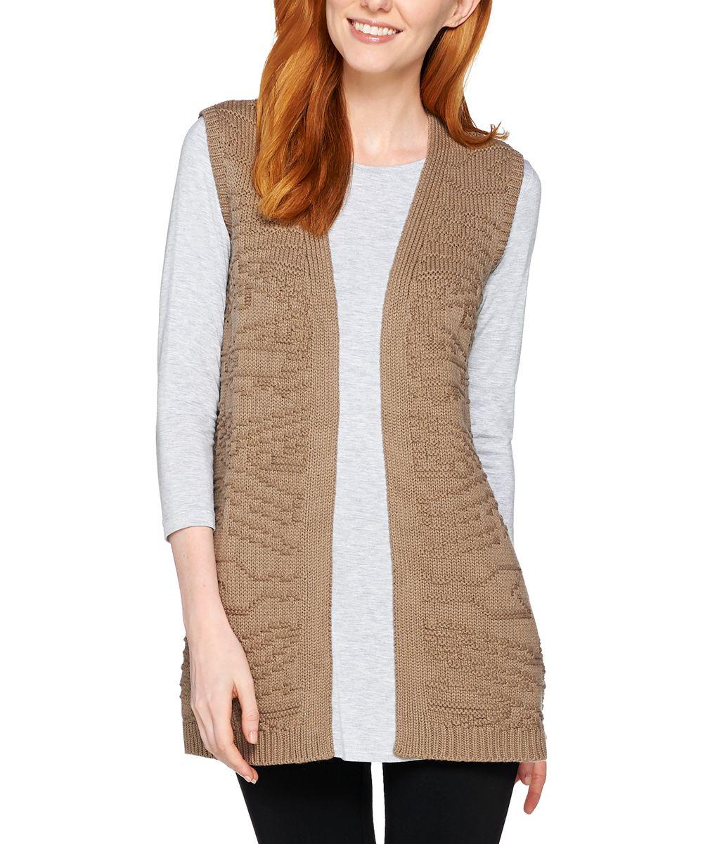 Dusky Taupe Jacquard Sweater Vest - Plus Too
