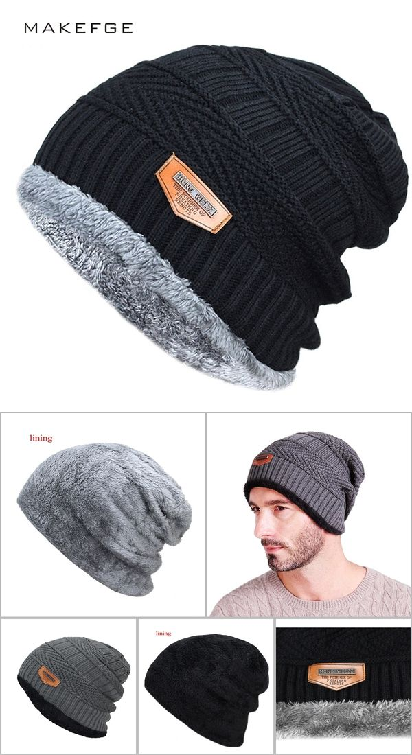 e063fd467c379 Men s winter hat 2017 fashion knitted black hats Fall Hat Thick and warm  and Bonnet Skullies