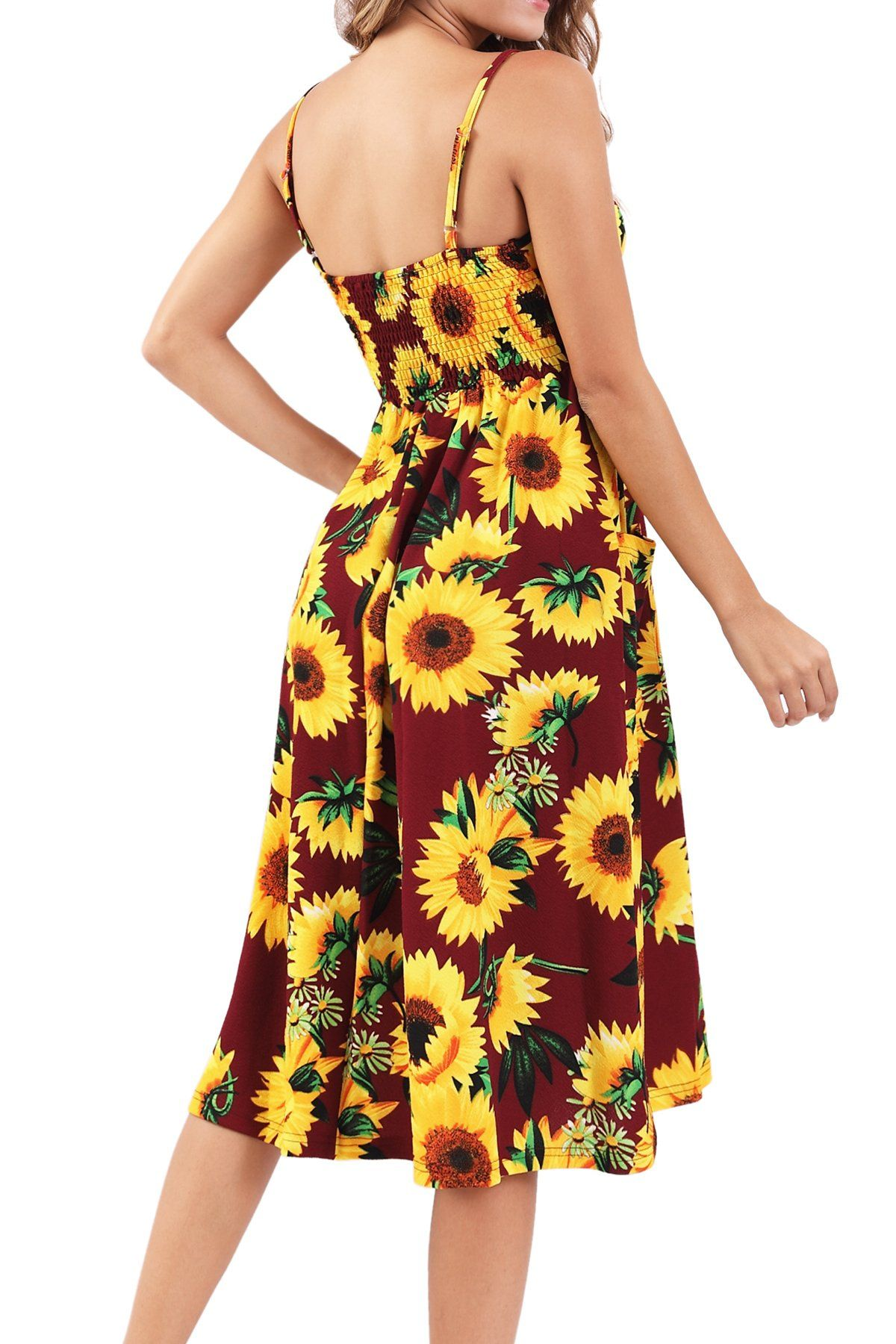 Bzonly Womens Floral Dresses Summer Spaghetti Strap Button Down Midi Dress With Pockets Details Can Be F Womens Floral Dress Floral Dress Summer Pocket Dress [ 1800 x 1200 Pixel ]