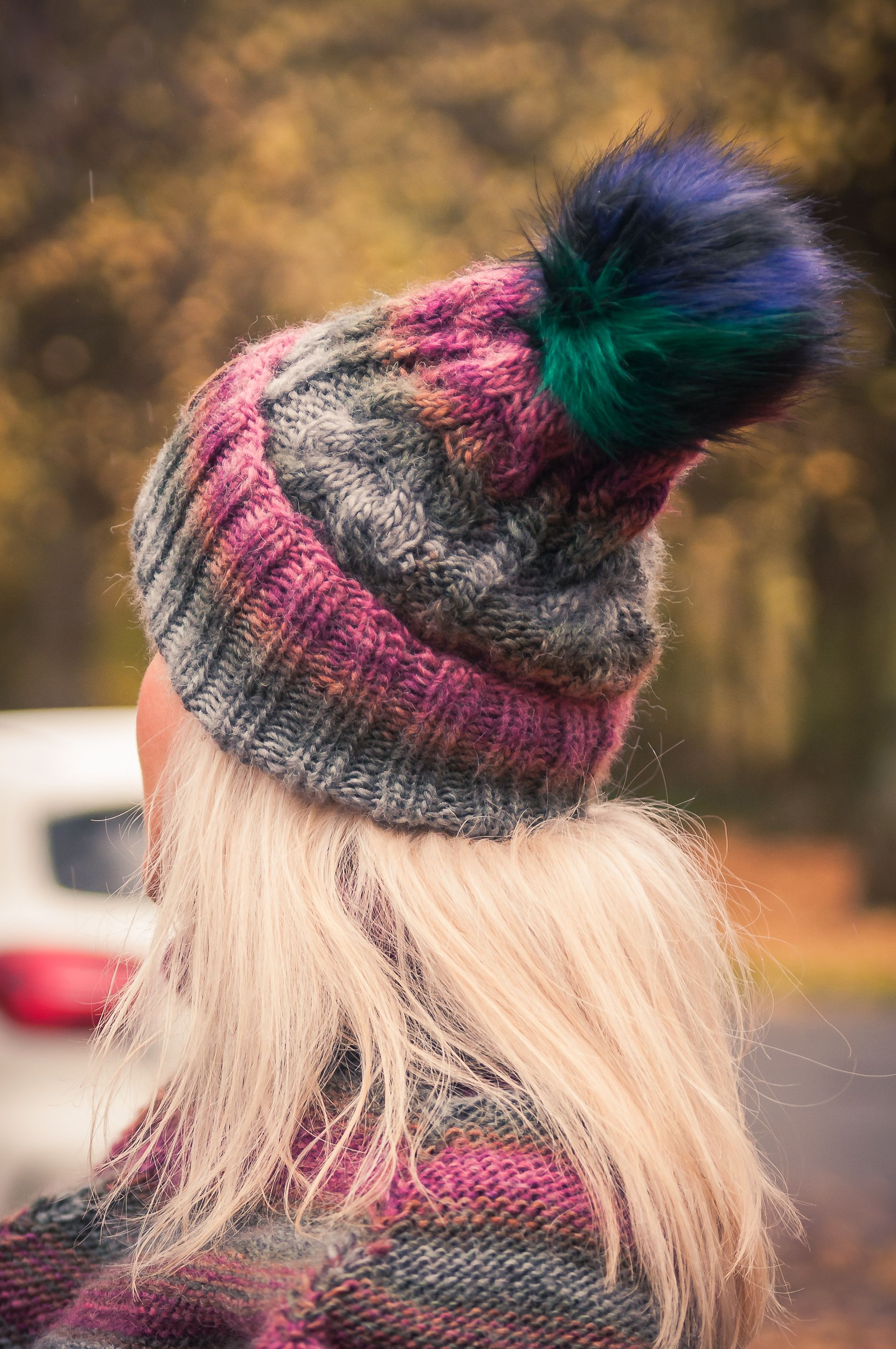 acfa5fe75d4 Handmade hat. Multicolored hat. Cap with pom pom