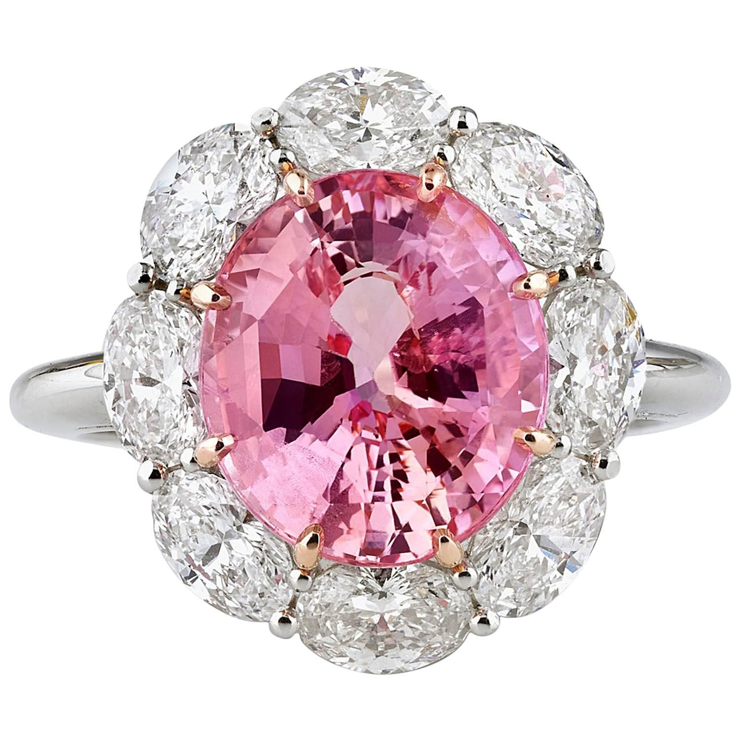 carats untreated padparadscha sapphire diamond gold ring in