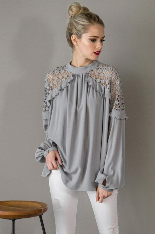 Grey Lace shoulder Blouse