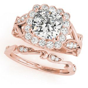 Engagement Ring Square Floral Vine Diamond Halo Bridal Set In Rose Gold ES1817RGBS