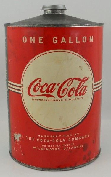 726dff3ae19b Coca Cola One Gallon Cone Top Syrup Can - c 1940s