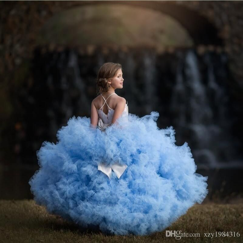 0873b414f7a Cloud Blue Girls Pageant Dress 2017 Lovely Fashion Crystal Luxury Feather  Communion Dress Bow Puffy Tiered Flower Girls Dresses For Wedding