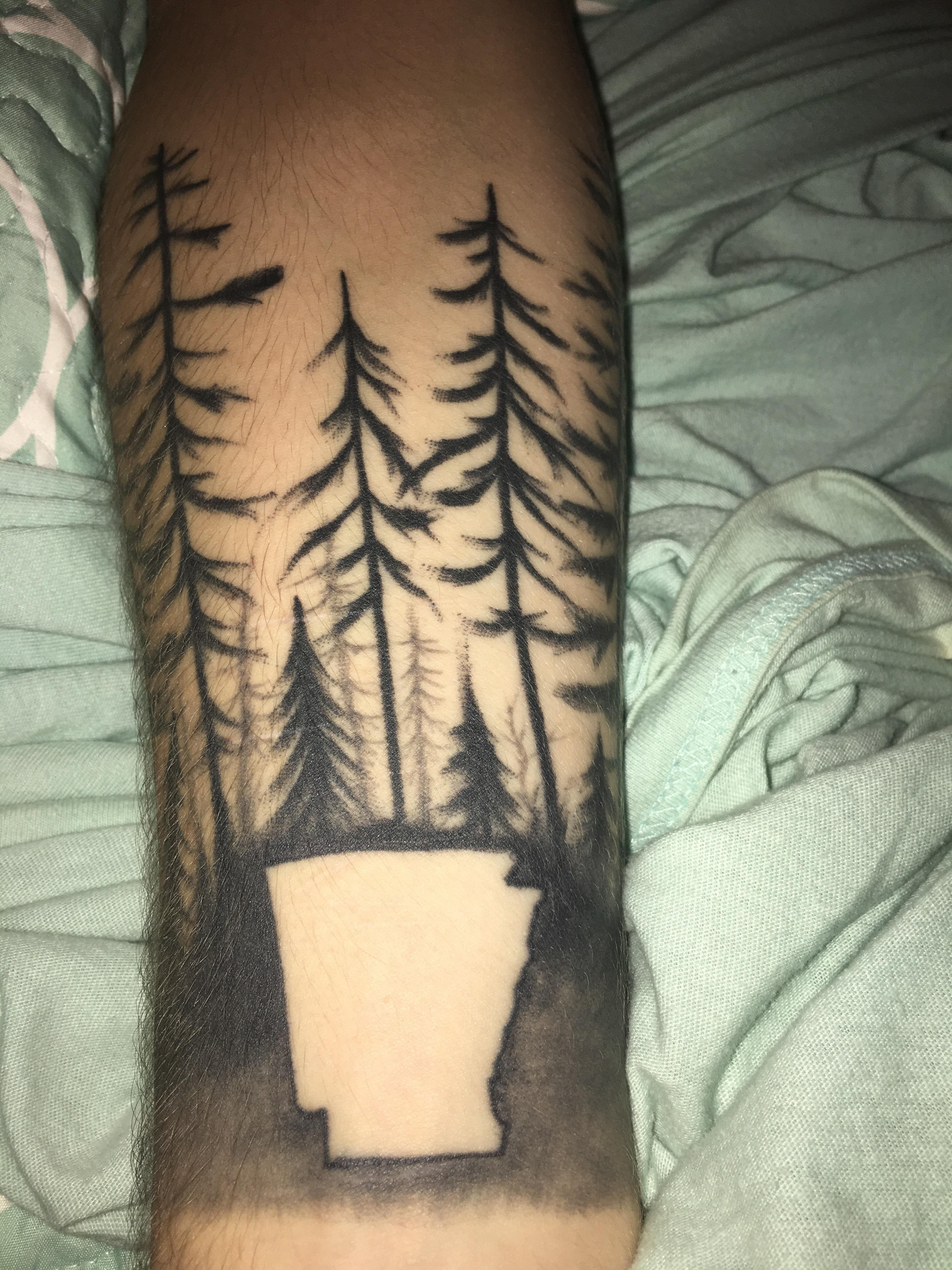 My sons Arkansas tattoo from 510 Tattoo in North Carolina