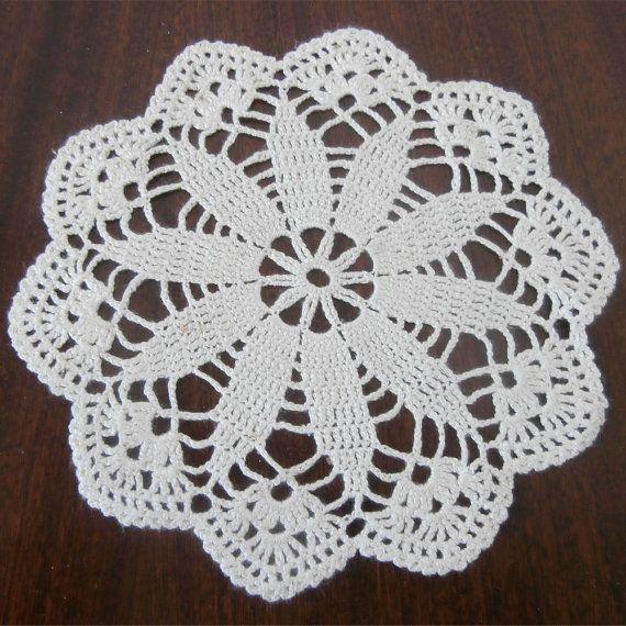 Ecru Doily, Ivory Doily, Cream Doily Crochet Round Doily, Ecru ...