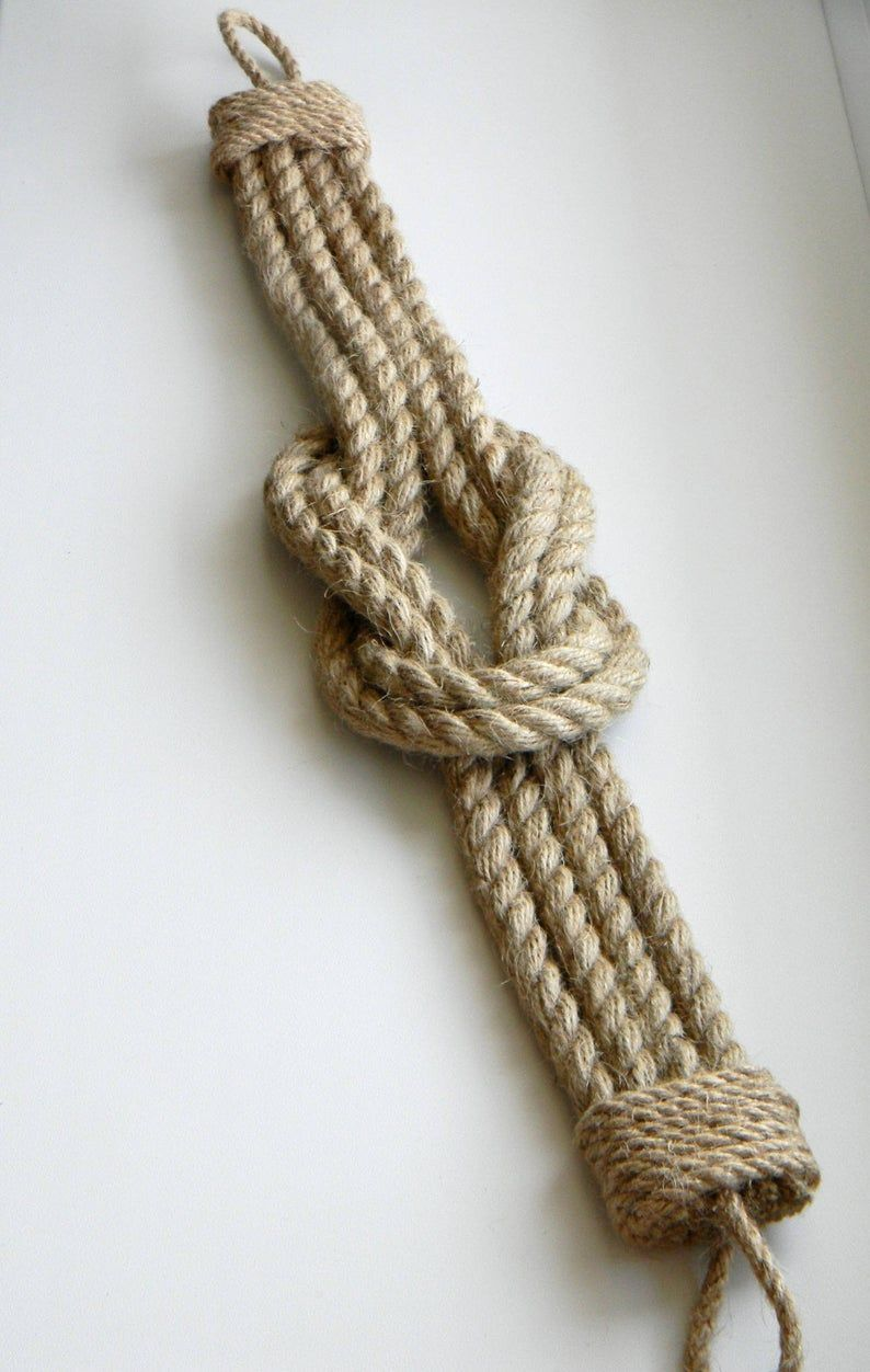 Photo of Curtain Tie back..Jute Rope Double Square Knot..Nautical Gift.. Curtains..Nautical Decor..Curtain Tie-backs