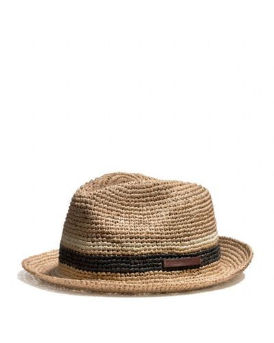 7726d5e32c35b COACH - Brown Packable Straw Fedora for Men - Lyst