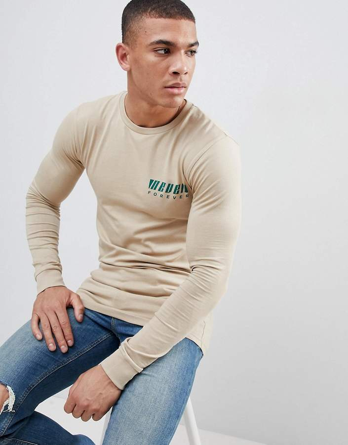 cd21e8485 DESIGN muscle fit long sleeve t-shirt with chest print | Products ...