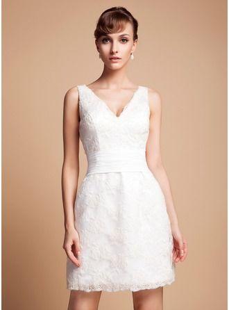 ebaef5b88 Vestido tubo Escote en V Corto Mini Encaje Vestido de novia ...