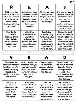 COMMON CORE READING CHOICE BOARDS {LITERATURE: 5TH GRADE} - TeachersPayTeachers.com
