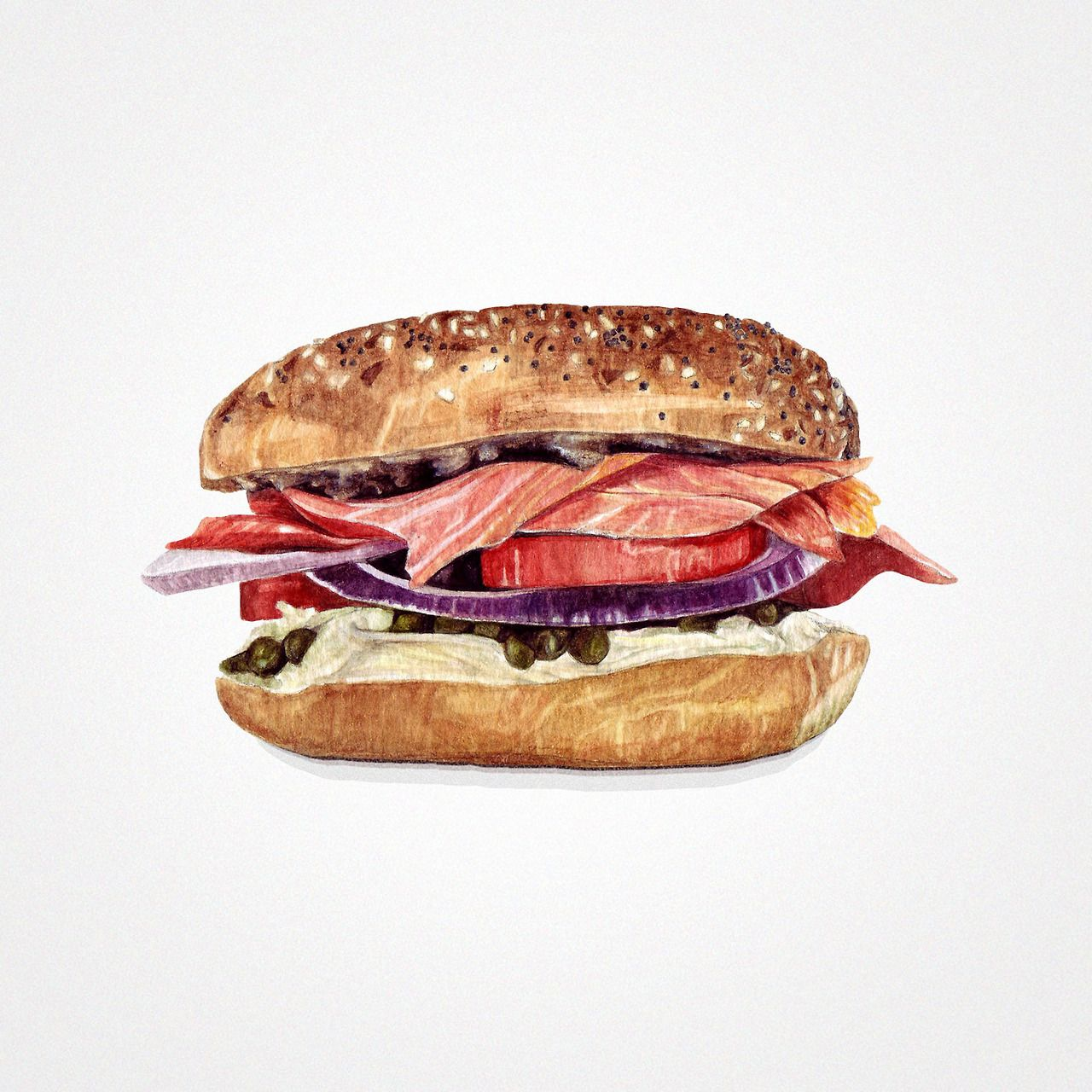 Smoked Salmon Sandwich Watercolor illustrations by Sara Zin. http://starvingartistbook.tumblr.com/