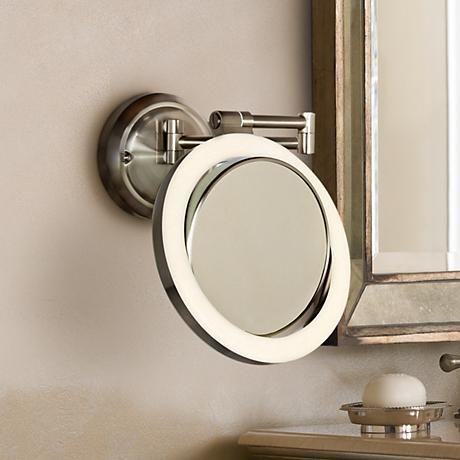 Surround Lighted 12 3 4 High Satin Nickel Makeup Mirror 2w732 Lamps Plus In 2020 Makeup Mirror Makeup Mirror With Lights Mirror