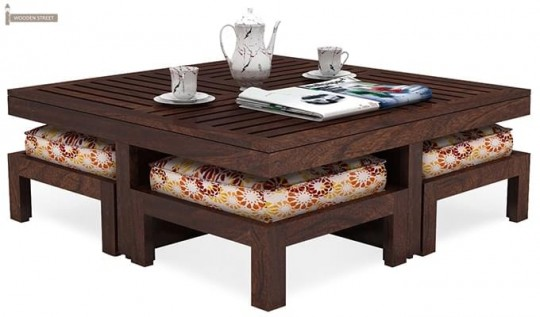Dallas Coffee Table With Stools Table Stool Woodenstreet Wood Crate Coffee Table Coffee Table Crate Coffee Table
