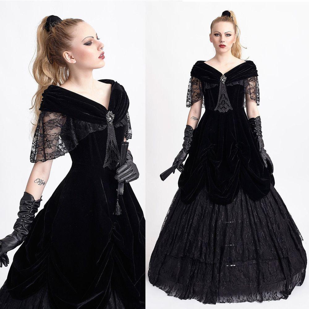 PUNK RAVE Gothic Ballkleid Viktorianisches Kleid Victorian Ball Gown ...
