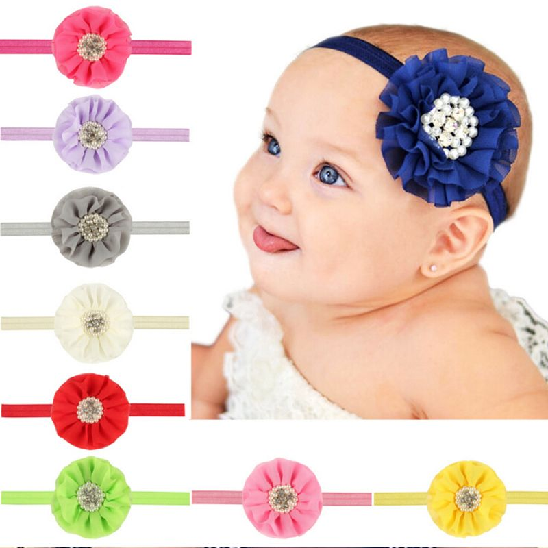 Click to Buy    Kids Hair bands Flower Headband Pearl Chiffon Decoration  Multi f0a4ff98f5bc