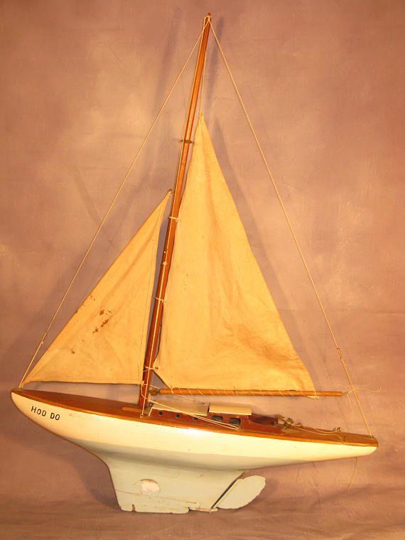 Stunning English Vintage Scratch Built Pond Sailing Yacht