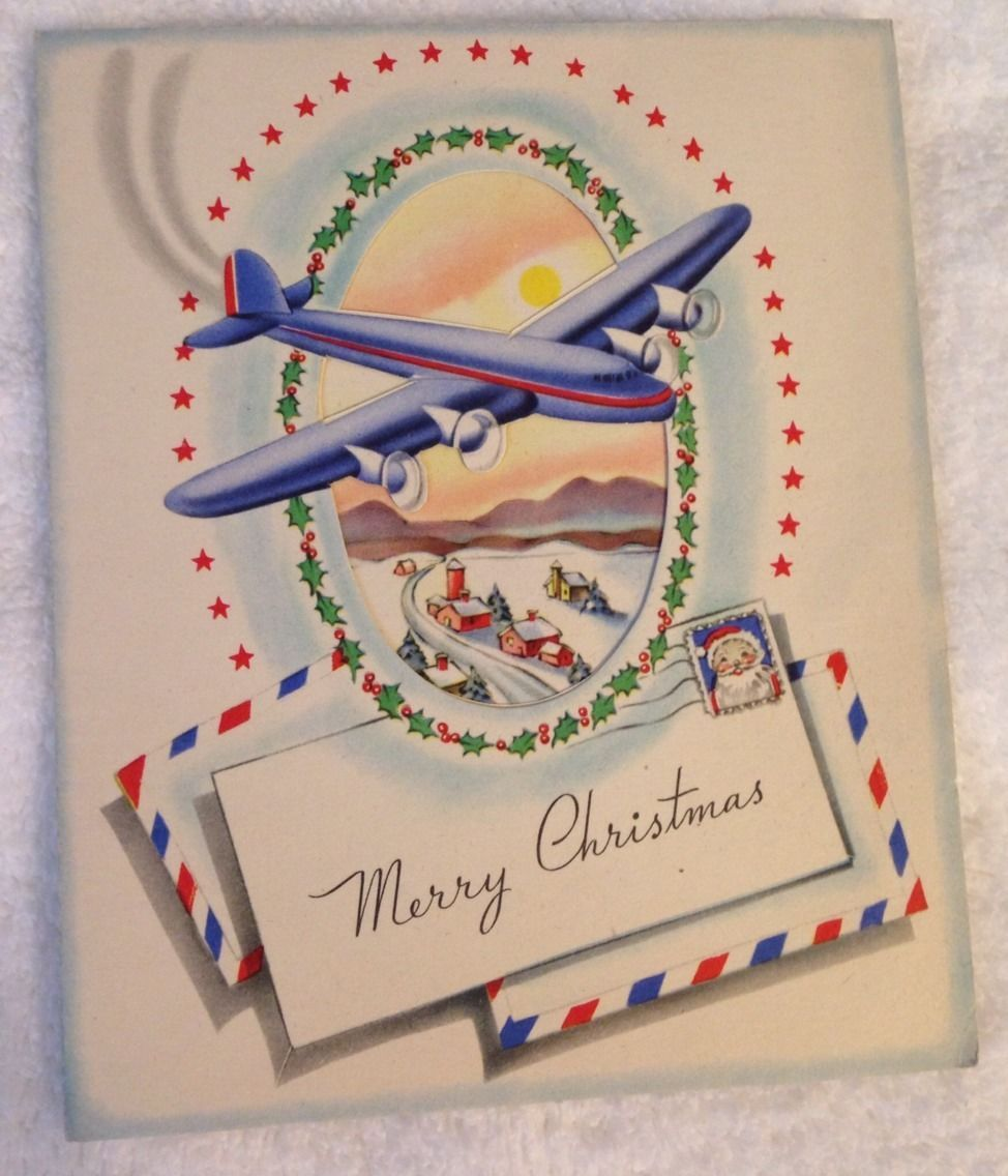 vtg 1950s airplane christmas card from 1959 used made in usa ebay - Airplane Christmas Cards
