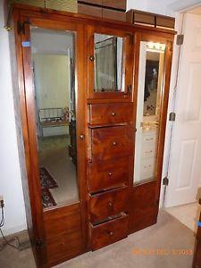 Vintage Cedar Wardrobe Chiffarobe Double Door With Mirrors And