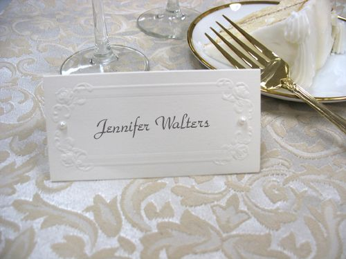 Place Card with Pearl Embellishments | Wedding Inspirations ...