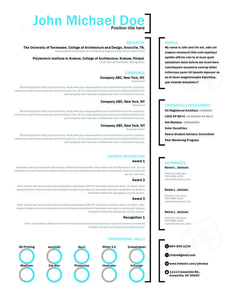 Resume    Bracket Theme   Customizable  Professional Architecture - art resume template