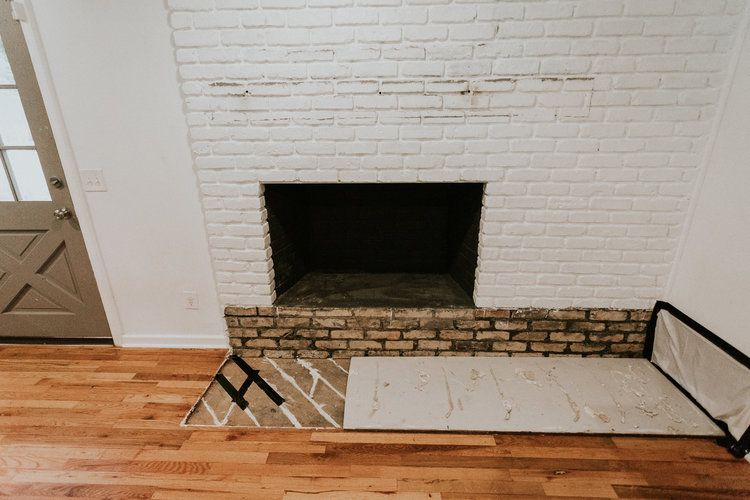Removing Our Fireplace S Brick Hearth Brick Hearth Fireplace Hearth Brick Fireplace