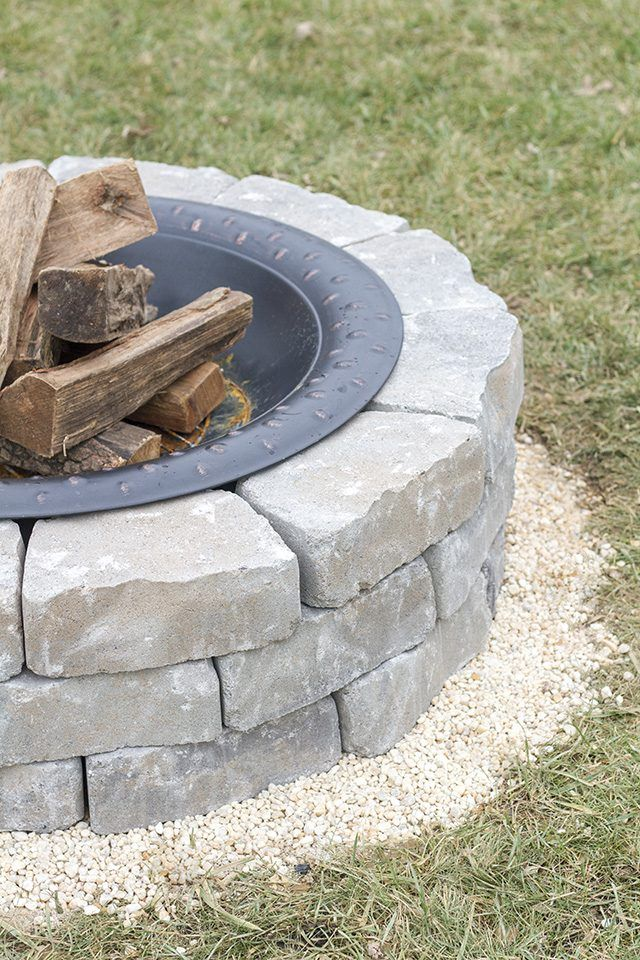 Learn How To Make Your Own Outdoor Built In Fire Pit Using Paver Stones Sand Pea Gravel And A Steel Bowl Fire Pit Backyard Garden Fire Pit Outdoor Fire Pit