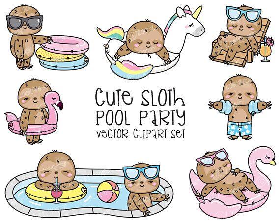Premium Vector Clipart Kawaii Sloth Cute Sloth Pool Party Etsy Cute Sloth Sloth Kawaii Clipart