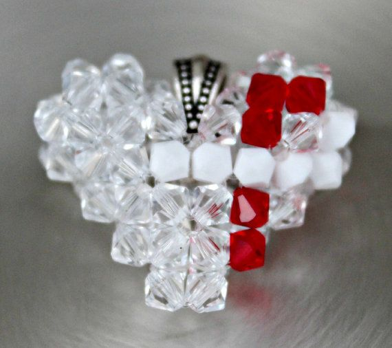 DAILY DEAL  White and Red Awareness Ribbon by HandmadeJILLry, $25.00