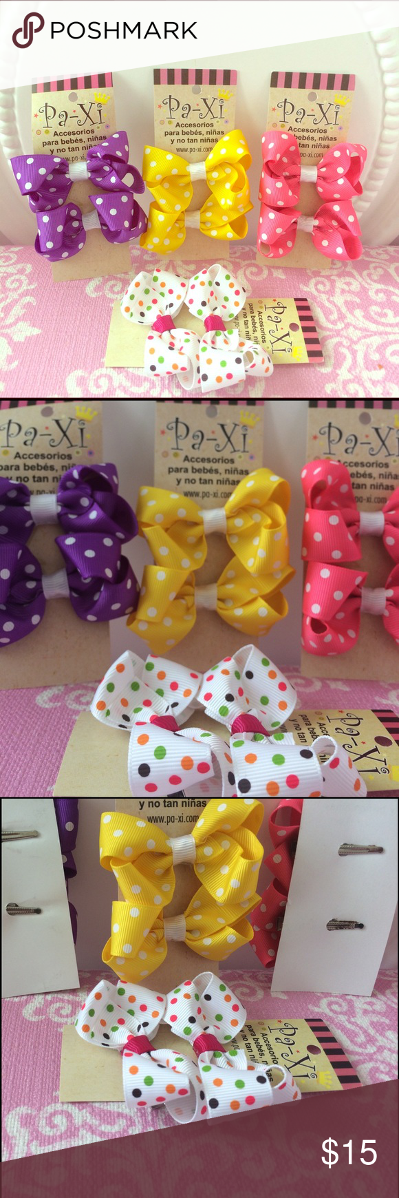 🎀 Bright Fun Bow Clip set 🎀 8 bow clips (4 pairs) in beautiful vibrant colors. Clip is easy to use and holds hair well while keeping the little ones comfortable! Also can be used for adults! If interested in customizing a bundle, please comment and I am happy to work with you 😊. Paxi Accessories Hair Accessories