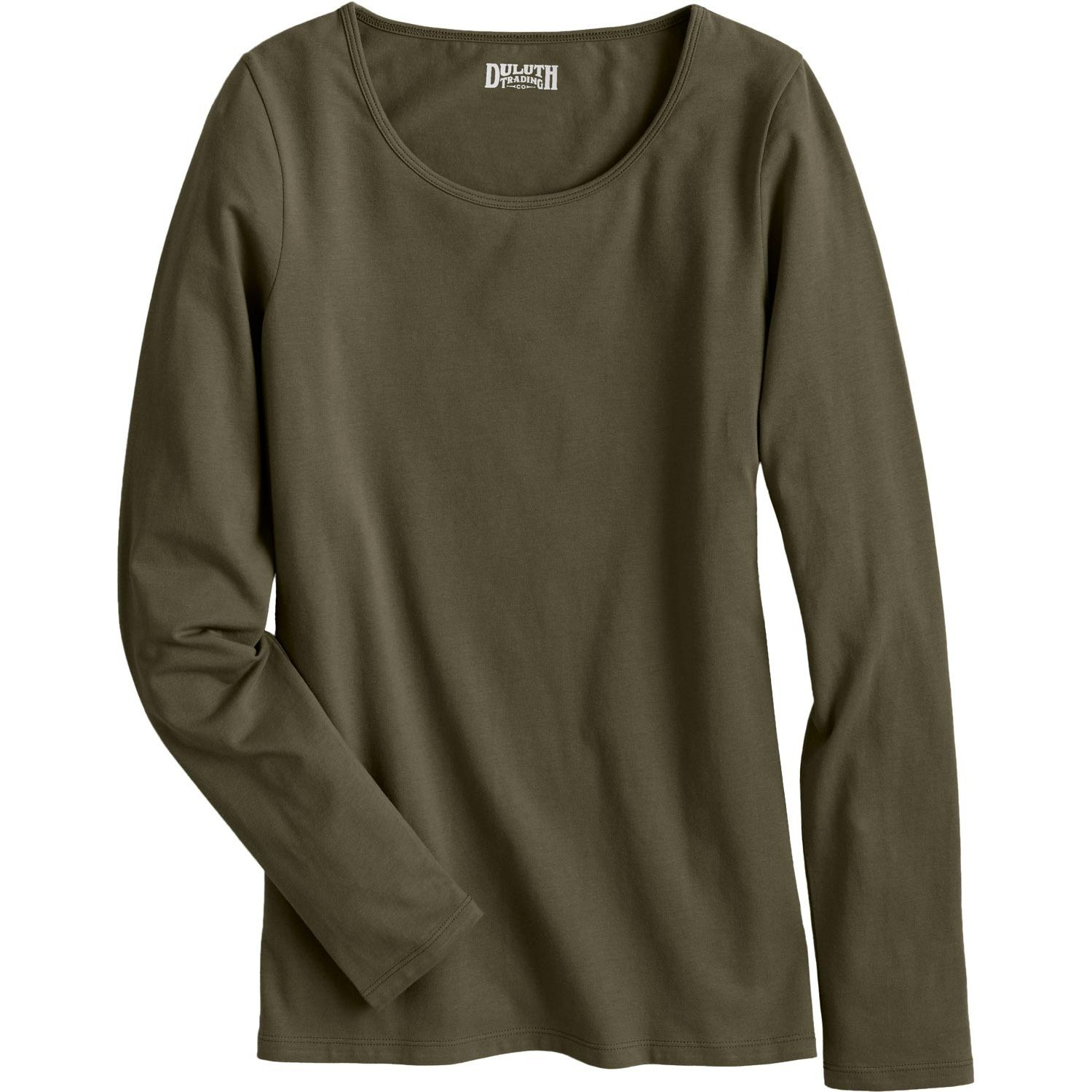 The No-Yank Long Sleeve Scoop Neck T Shirt combines organic cotton with stretch to create a shirt that stays put. Quit tusslin' with your tee and go yank free!
