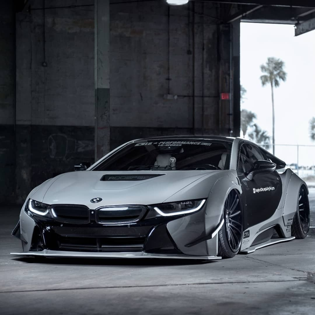 Spaceship In The Form Of The Car Custom White Bmw I8 With Blue Accents Bmw I8 Bmw Futuristic Cars