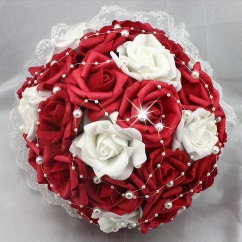Buy Wedding Bouquet Bride Holding Flowers Rose Flower Red White By Seppinha