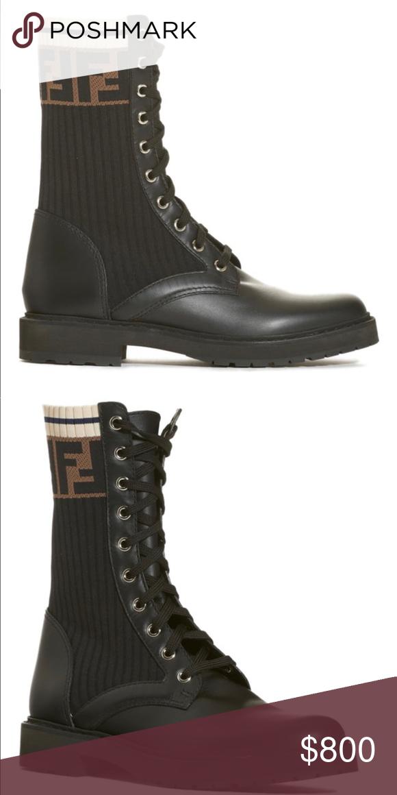 fe7549b2ebd FENDI Rockoko Chelsea Sock Combat Boot Black Brand New With Box ...