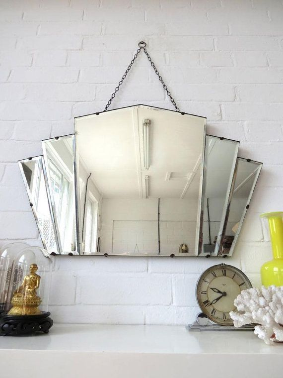 Vintage large art deco bevelled edge wall mirror or by uulipolli art deco pinterest architecture art nouveau art nouveau et art déco