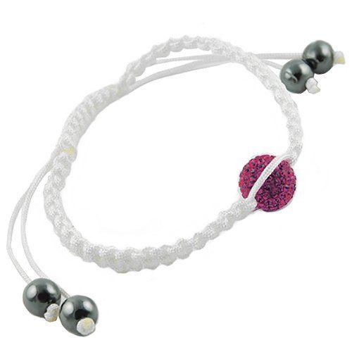 Fuchsia Crystal Pave Bead White Macrame Shamballa Bracelet