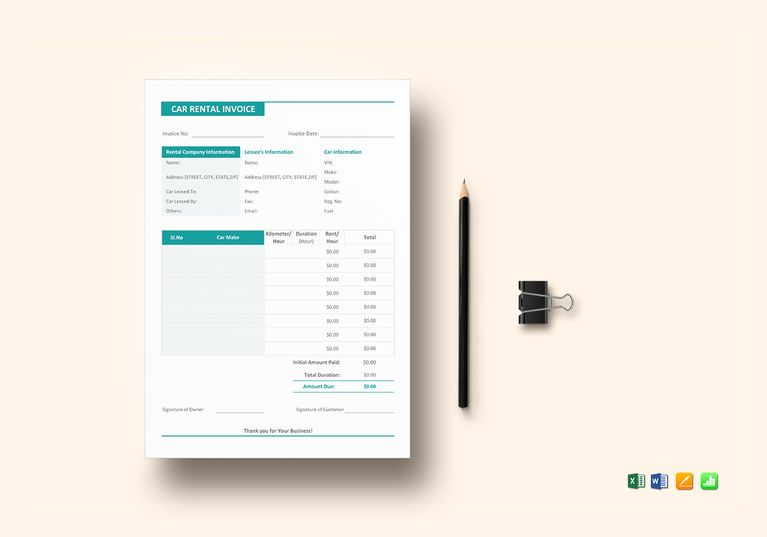 Car Rental Invoice Template $12 Formats Included  MS Excel, MS Word - google docs resume templates