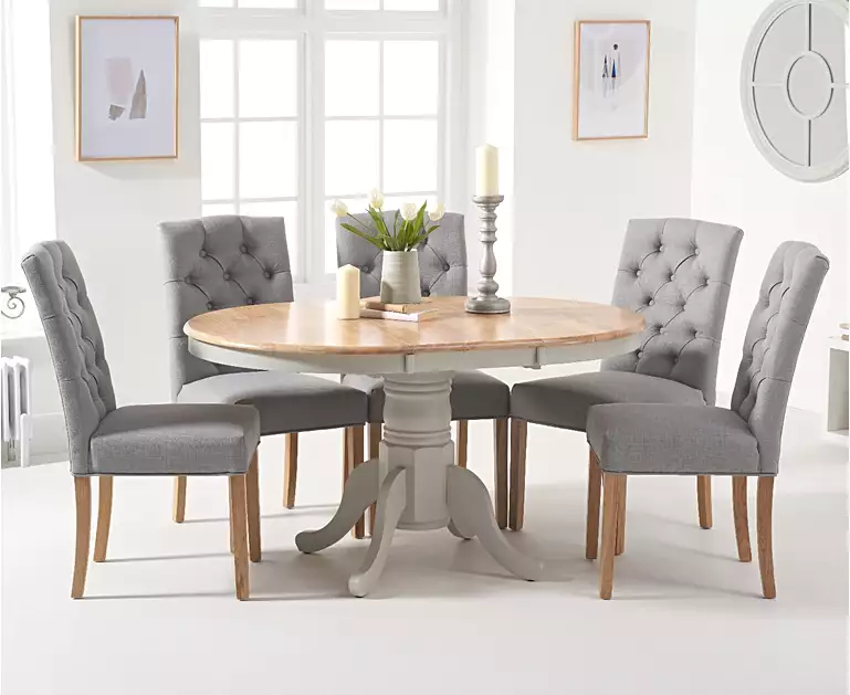 Epsom Oak And Grey Pedestal Extending Dining Table With Claudia Grey Fabric Dining Chairs Grey Dining Tables Pedestal Dining Room Table Oak Dining Chairs