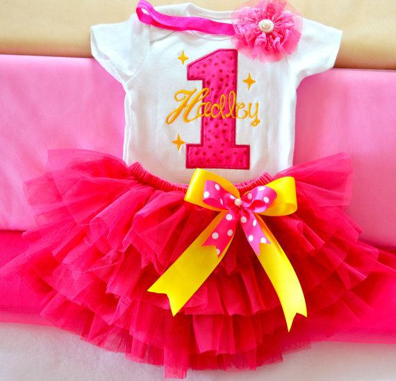 Custom Girl/Toddler First birthday Hot Pink tutu by KidsFunLand