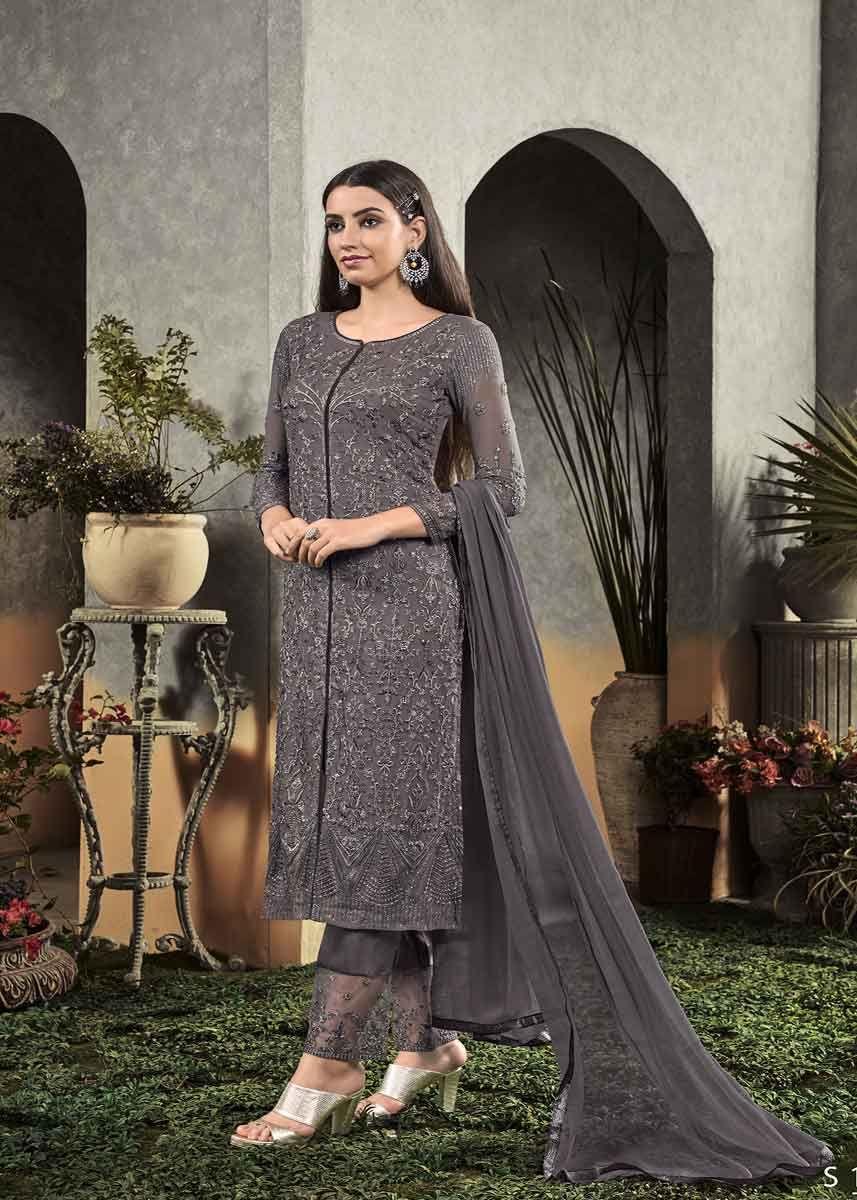 New Indian Designer Stitched Grey Purple Georgette Ethnic Salwar Kameez