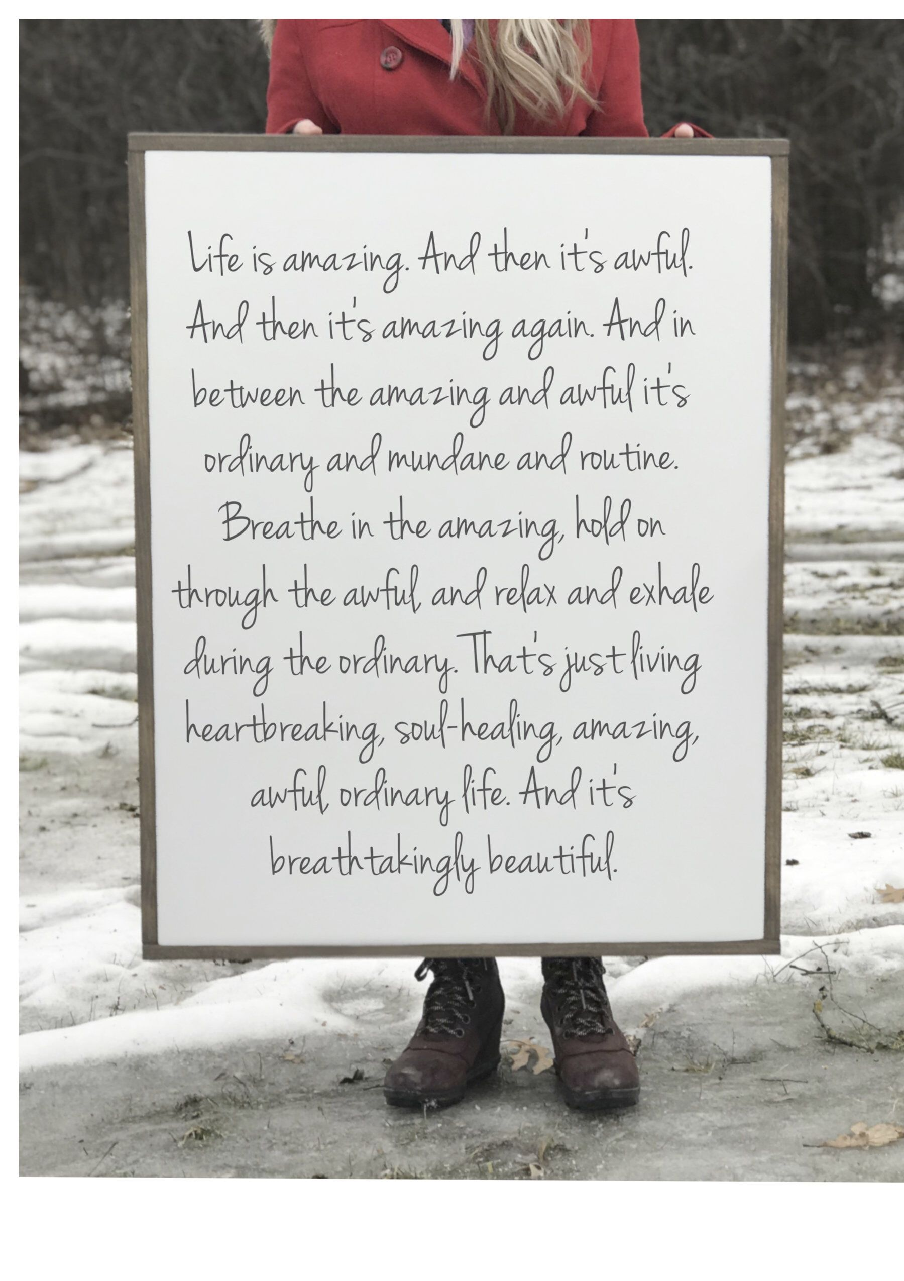 Life is Amazing Sign L.R. Knost Quote Inspirational Quote  Etsy